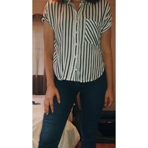 Forever 21 Tops - B&W striped button down